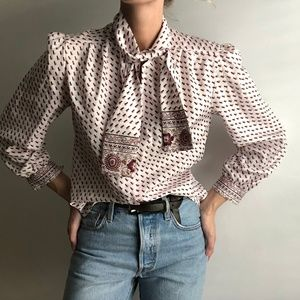VINTAGE/ neck tied silky blouse